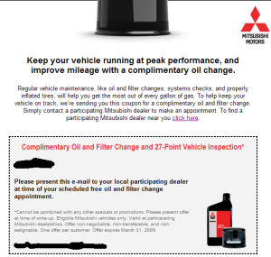 Free Oil Change from Mitsubishi – Should I do it?