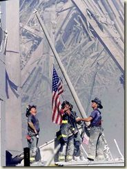 firefightersraiseamericanflagamidsrescue