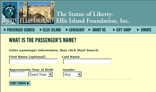 Passenger Search - The Statue of Liberty & Ellis Island