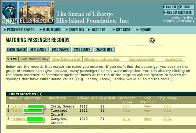 Ellis Island Database, History, Immigrants and Lists