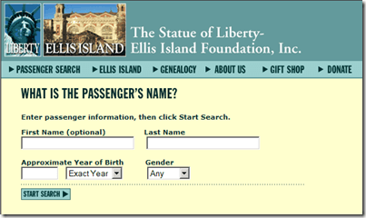 Ellis Island Search