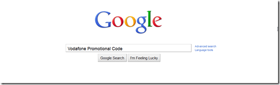 Google - Vodafone Promotional Code Search