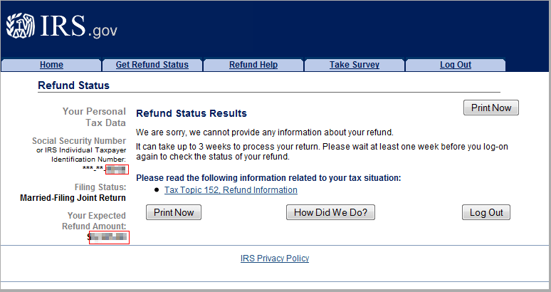 income tax refund form online