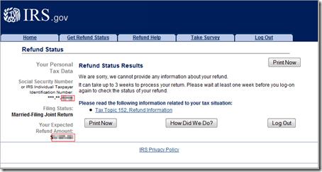 Refund Status Results