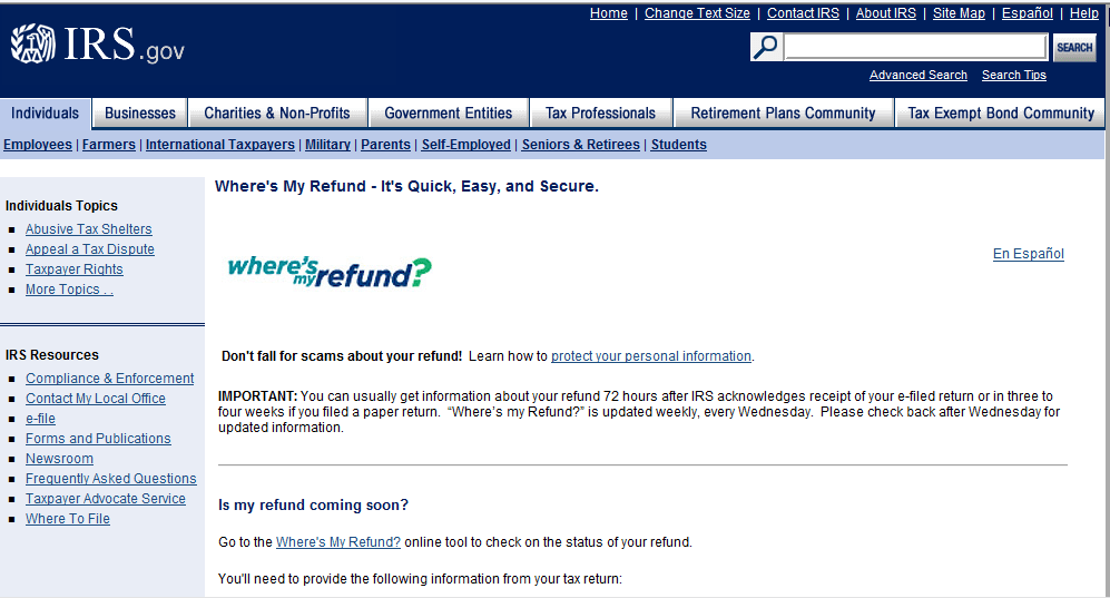 Where is my 2011 State and Federal Refund? Using Online Tool