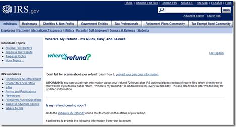Where's My Refund - IRS