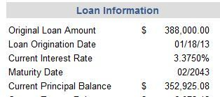 My Original loan information