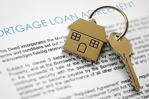 Mortgage loan agreement stock photo