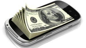 cell phone on money