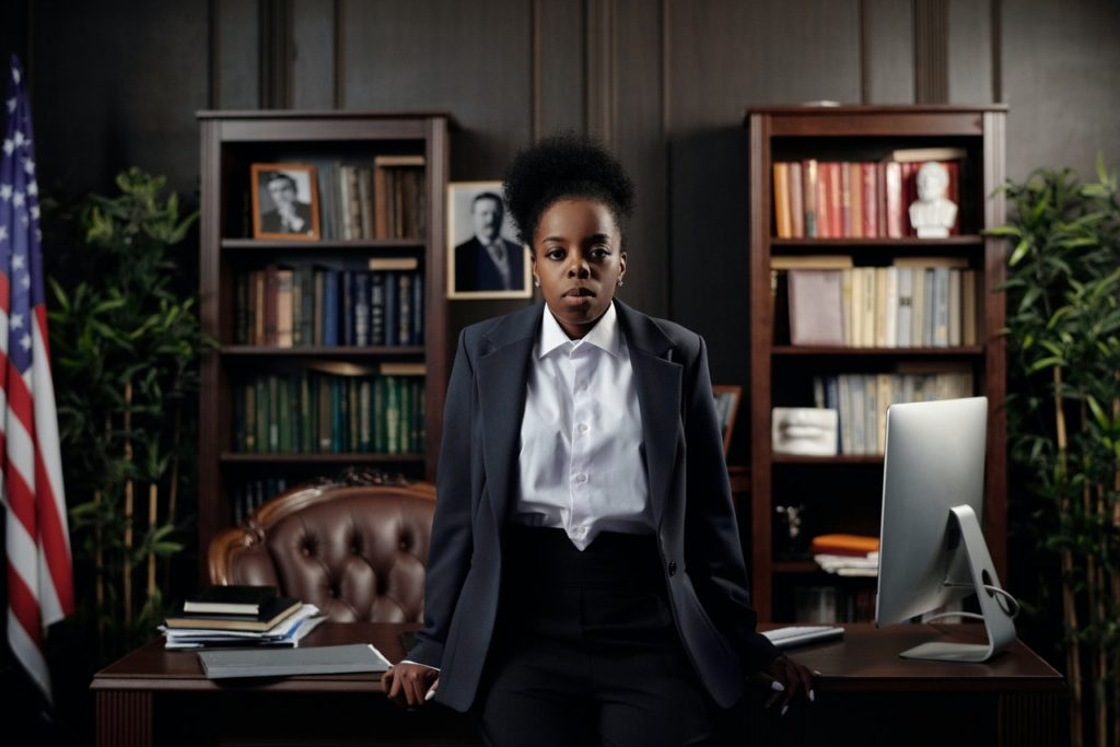 An attorney in her office